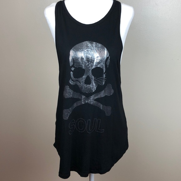 soulcycle Tops - Soulcycle Black Tank Silver Graphic